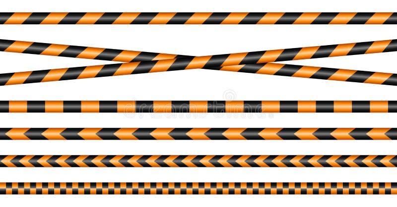 Ställ in av olika barriärband svart och orange stock illustrationer