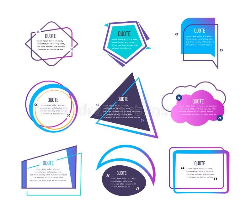 Ställ in av olika citationstecken och anförandebubblor, tom orienteringsmall stock illustrationer