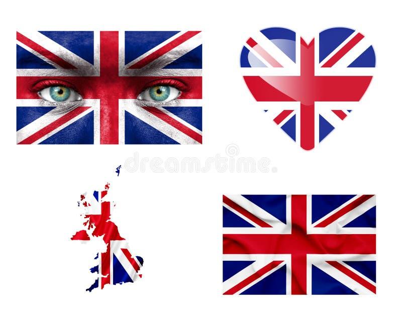 Ställ in av olika Förenade kungariket flaggor arkivbilder