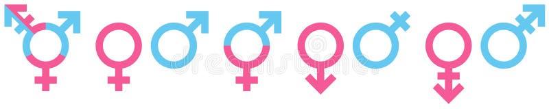 Ställ in av olika genussymboler blått och rosa vektor illustrationer