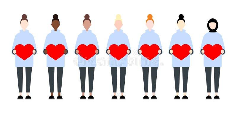 St?ll in av olika loppvektorkvinnor som rymmer hj?rtor Gullig och enkel modern plan stil f?r Valentine Day systerskap vektor illustrationer