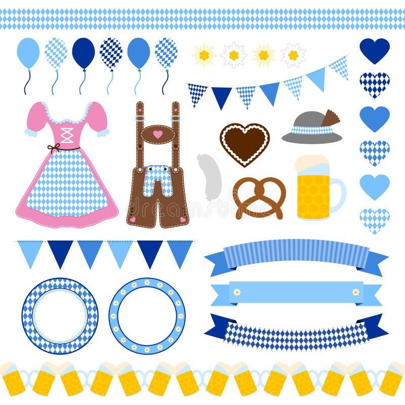 Ställ in av olika Oktoberfest symboler Diamond Pattern royaltyfri illustrationer
