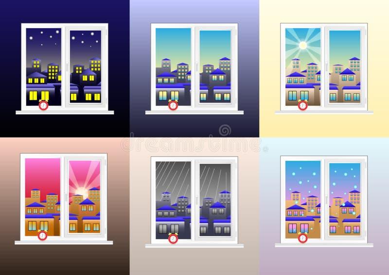 Ställ in av olika sikter från fönstret: morgon, eftermiddag, afton, natt, molnigt regnigt, klart och snöig väder stock illustrationer