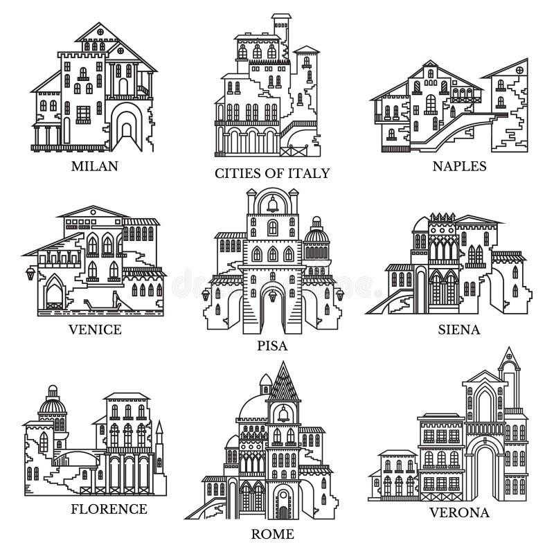 Ställ in av olika stil- och arkitekturstäder av Italien Vektorlinje isolerade symboler för turismrengöringsduk och annonsering stock illustrationer