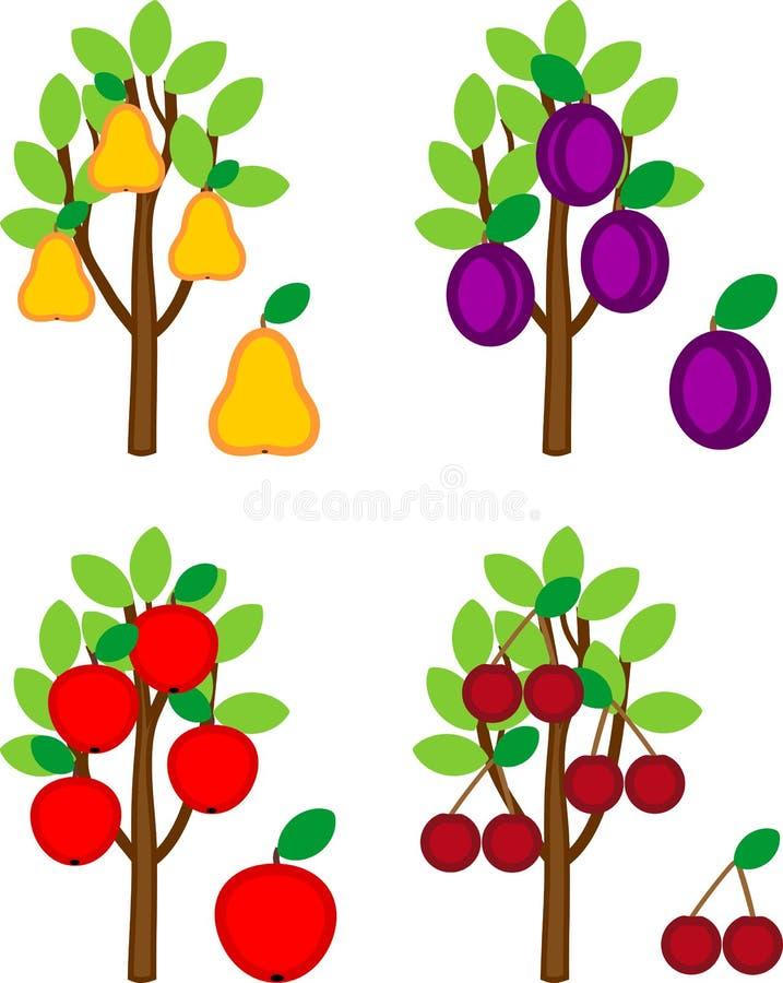 Ställ in av olika tecknad filmfruktträd royaltyfri illustrationer