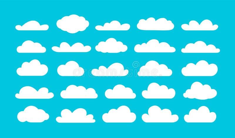 Ställ in av olika tecknad filmmoln på blå himmel den fr?mmande tecknad filmkatten flyr illustrationtakvektorn vektor illustrationer