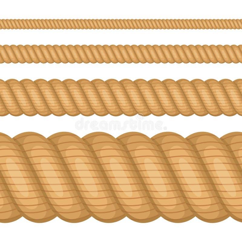 Ställ in av olika tjockleksrep som isoleras på vit bakgrund Det nautiska vridna repet, brunt tvinnar i plan tecknad filmstil royaltyfri illustrationer
