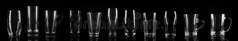 Ställ in av olika tomma exponeringsglas Banerdesign royaltyfri foto