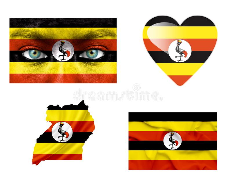 Ställ in av olika Uganda flaggor arkivbilder