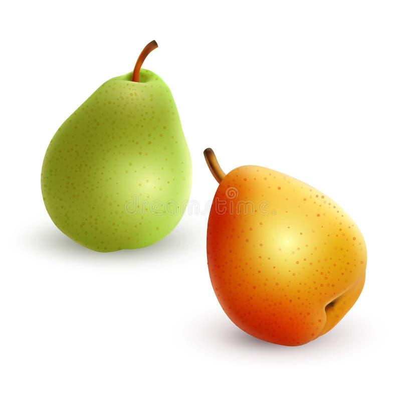 Ställ in av olika variationer för päron av gröna och gula färger, realistisk vektorillustration på vit bakgrund stock illustrationer