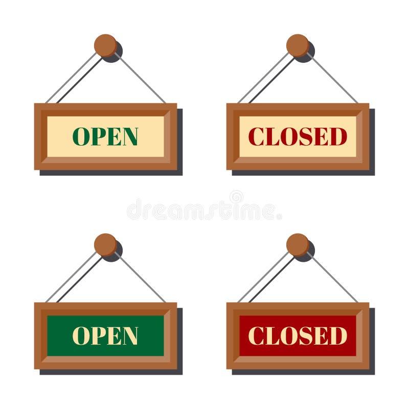 Ställ in av olikt öppet och stängt affärstecken för dörr eller att shoppa fönstret royaltyfri illustrationer