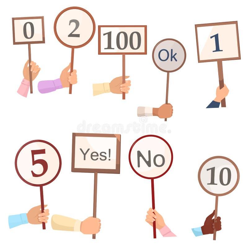 Ställ in av olikt rösta eller sluten omröstningbräde med nummer i händer vektor illustrationer