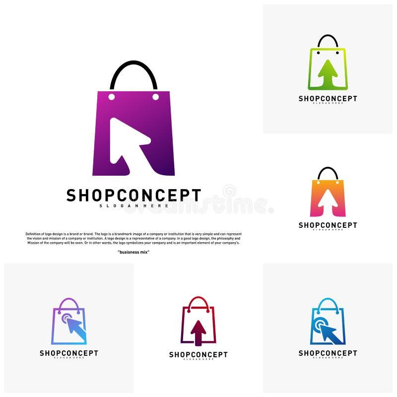 Ställ in av online- shoppar Logo Design Concept Online-köpcentrumlogo Online-lager- och gåvasymbol royaltyfri illustrationer