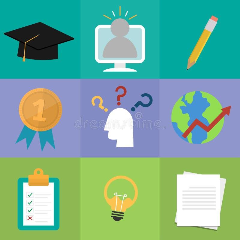 Ställ in av online-utbildning Studie och lära begreppssymbolen stock illustrationer