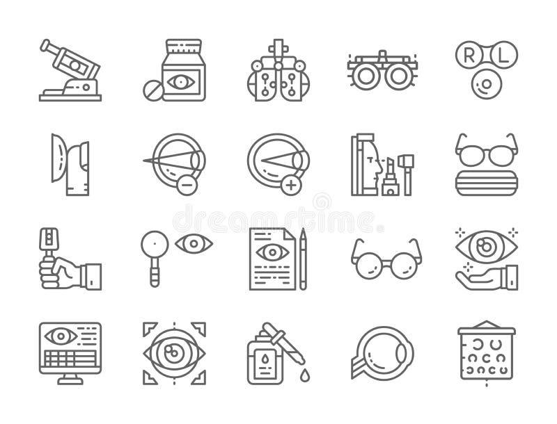 Ställ in av Optometrylinjen symboler Vitaminer optisk klinik, ögonkirurgi och mer vektor illustrationer