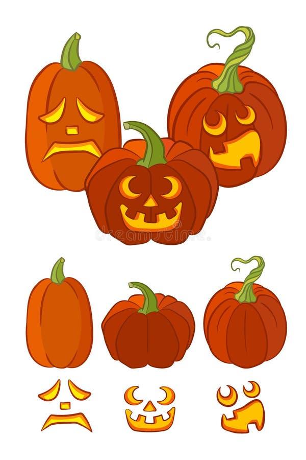 Ställ in av orange pumpor med olika ansiktsuttryck som isoleras på vit bakgrund royaltyfri illustrationer