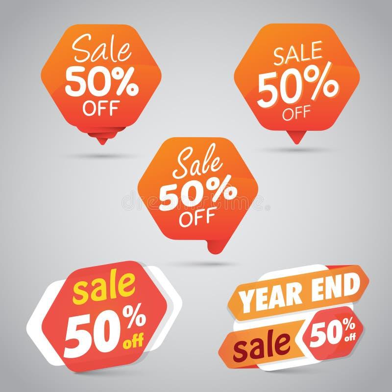 Ställ in av orange Sale 50% tecken stock illustrationer