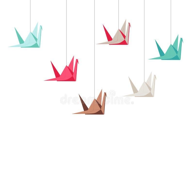 Ställ in av origami sträcker på halsen på vit bakgrund fotografering för bildbyråer