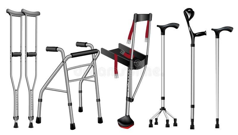 Ställ in av ortopediska gå pinnar på vit bakgrund stock illustrationer