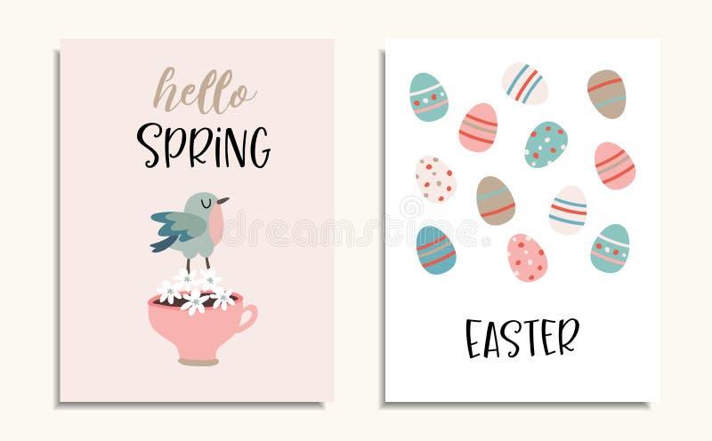 Ställ in av påskhälsningkort, inbjudningar med fågeln, koppen kaffe, blommor och färgrik modell för påskägg Vår stock illustrationer