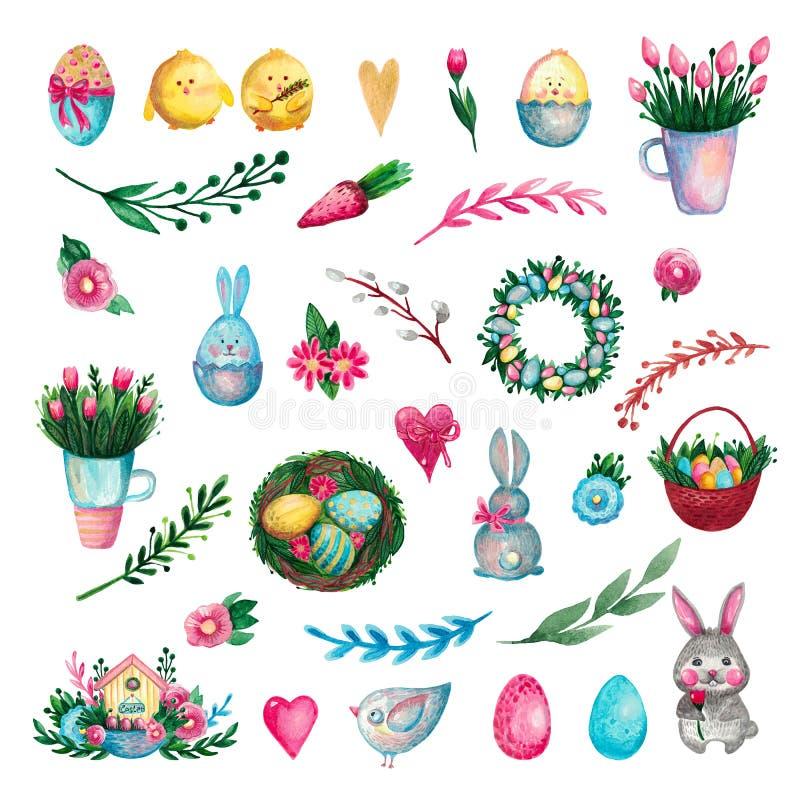 Ställ in av påsksymboler, och festliga beståndsdeldjur blommar filialägg stock illustrationer