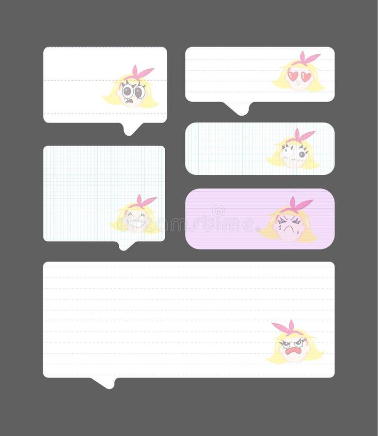 Ställ in av pappers- anförandebubblor med den gulliga flickan, illustration för vektor eps10 stock illustrationer