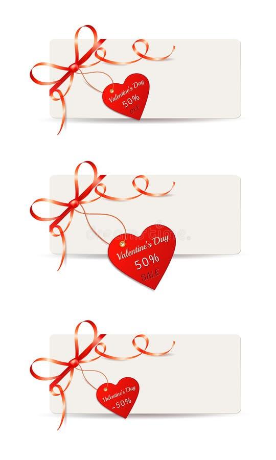 Ställ in av pappers- kort för valentindag med röda gåvapilbågar och försäljningsprisetiketten eller etiketter som isoleras på vit royaltyfri illustrationer