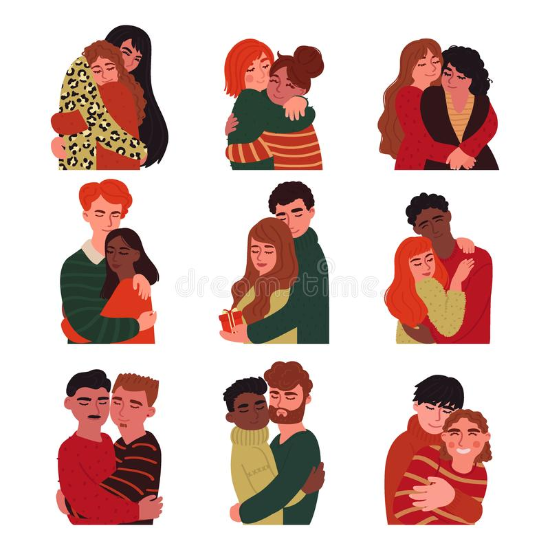 Ställ in av parungdomaratt krama Samma-könsbestämma par, multinationella par, traditionellt Vektorillustration i stilen av stock illustrationer