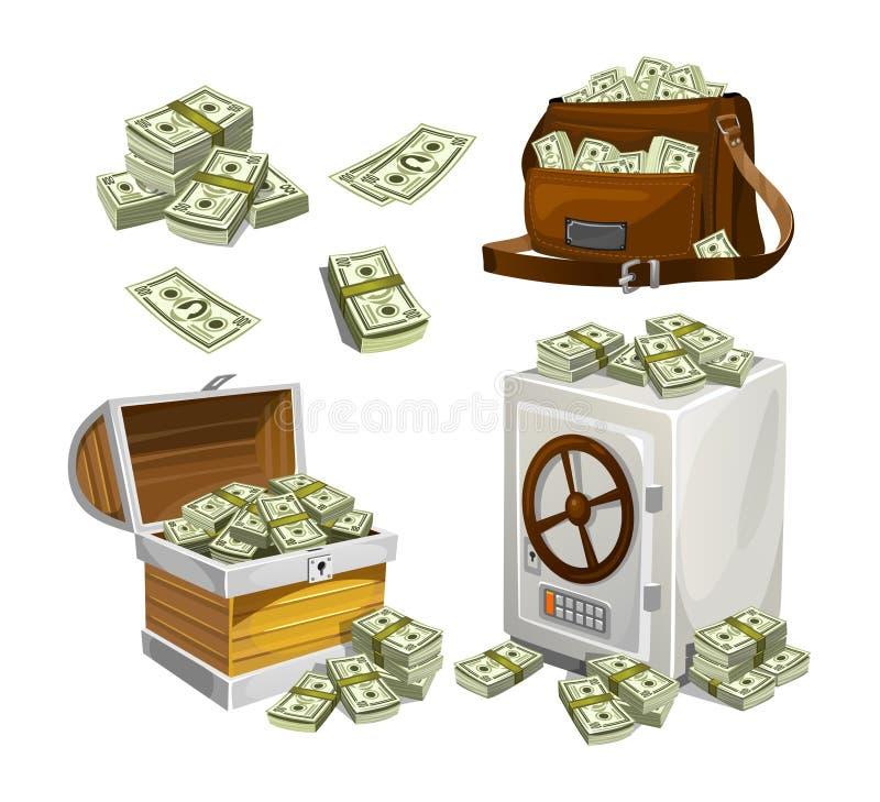 Ställ in av pengarsedlar för lekar, affischer, baner etc. Modiga pengar Bröstkorg, påse och kassaskåp som är fulla av bacnknotes stock illustrationer