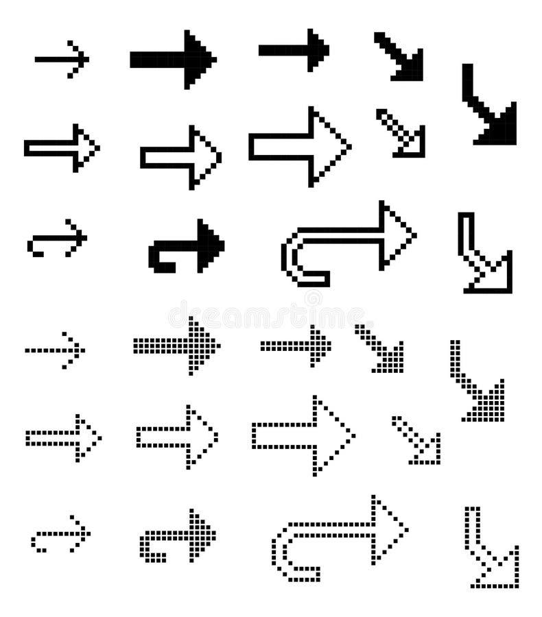 Ställ in av 26 pilar för konst för PIXEL för stilvektor svartvita vektor illustrationer
