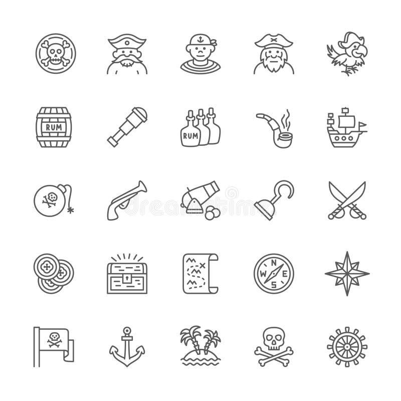 Ställ in av piratkopierar linjen symboler Sjöman Boatswain, kapten, papegoja, skepp och mer stock illustrationer