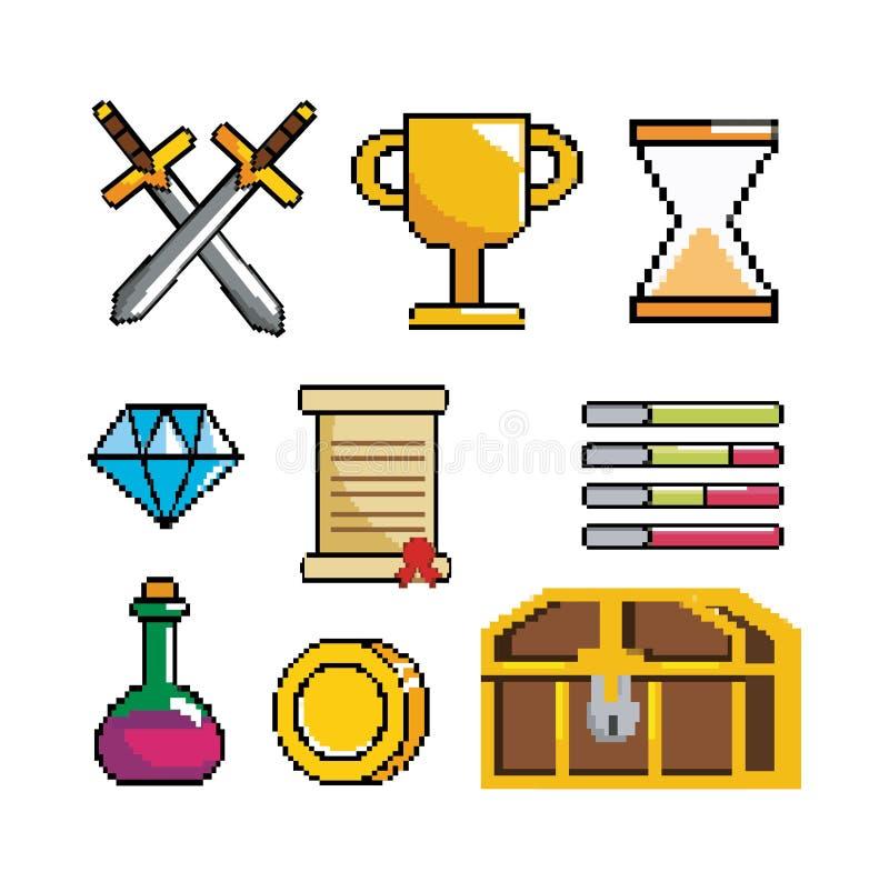 Ställ in av pixelated videogameplats och den digitala konsolen royaltyfri illustrationer