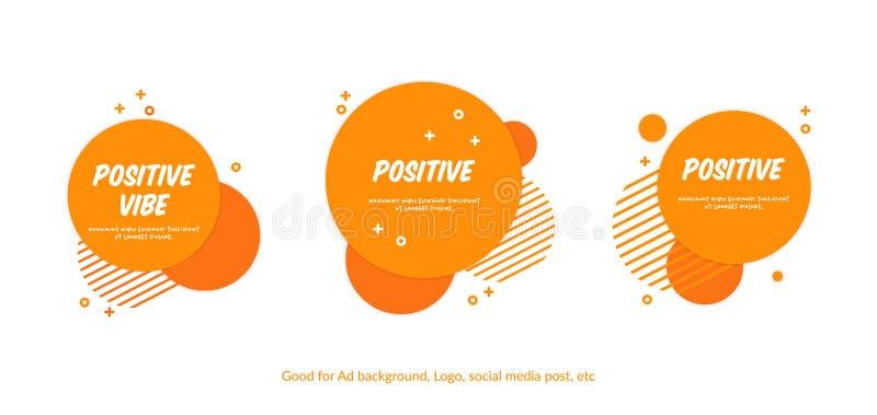 Ställ in av plan gladlynt orange cirkelbakgrund Bakgrund för vektormemphis stil för website, baner, räkningar, reklamblad, baner  royaltyfri illustrationer