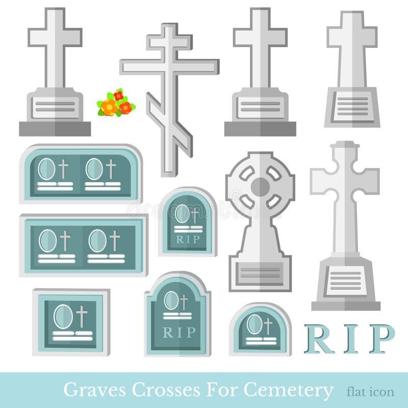 Ställ in av plan grav och korsar olik stil för kyrkogårdvektor vektor illustrationer