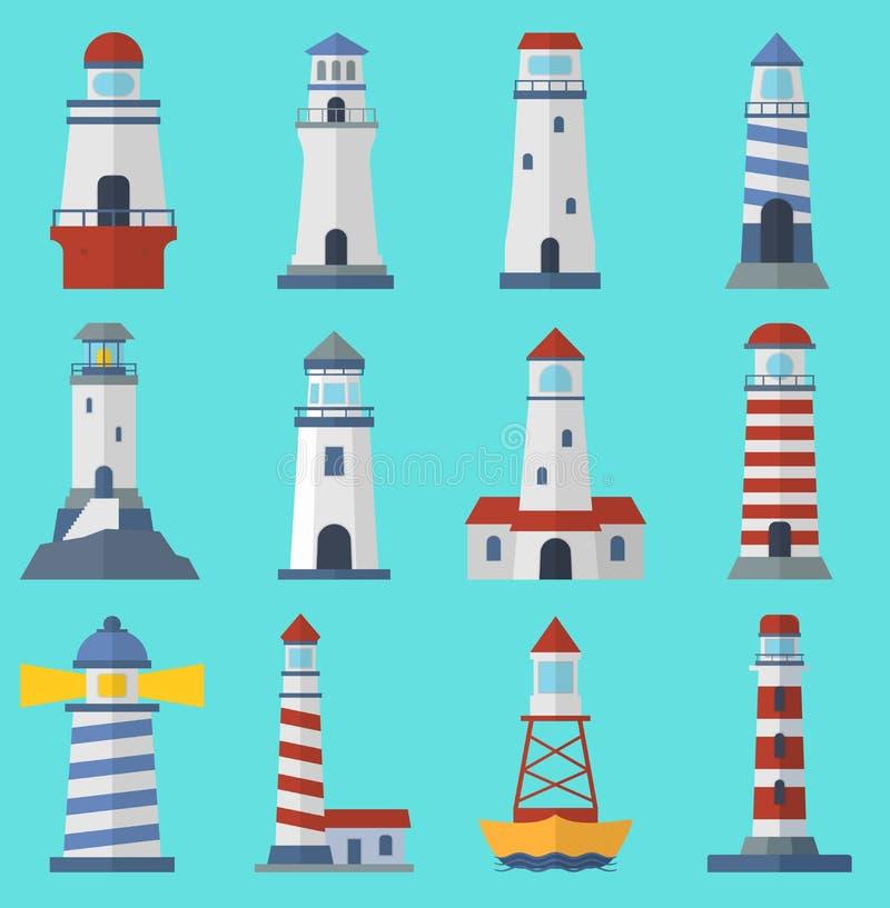 Ställ in av plana fyrar för tecknade filmen Strålkastaretorn för för för vägledningshav och hav för maritim navigering torn för l royaltyfri illustrationer