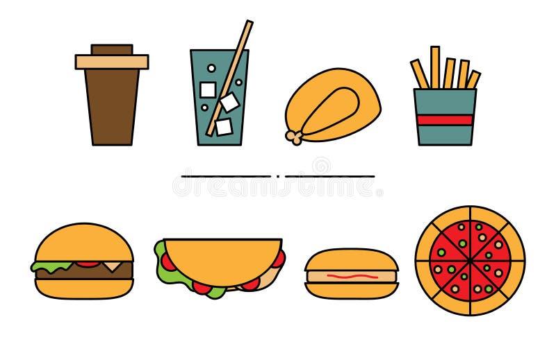 Ställ in av plana geometriska snabbmatsymboler Illustration av kulör lemonad, grillad höna, småfiskar, kaffe, pizza, hamburga stock illustrationer