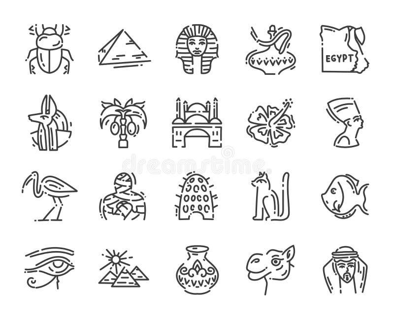 Ställ in av 20 plana symboler av Egypten kultur, designbeståndsdelar som isoleras på vit för webbplats royaltyfri illustrationer