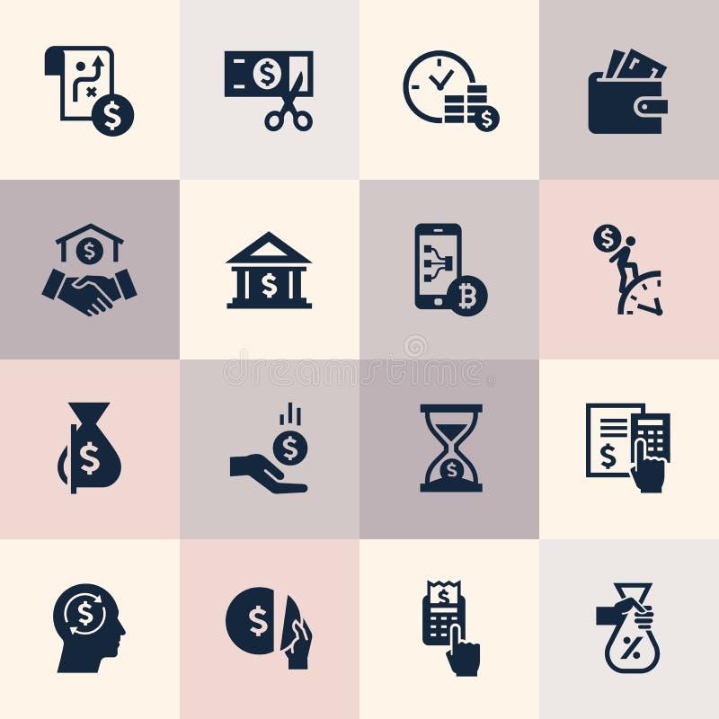 Ställ in av plana symboler för designbegreppet för finans, bankrörelsen, affär, betalning och monetära operationer stock illustrationer