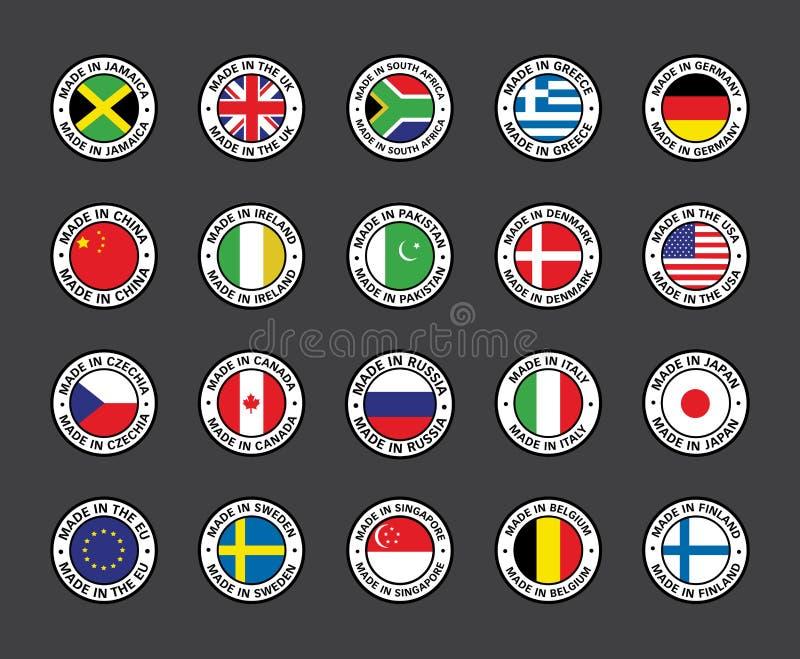 Ställ in av plana symbolsflaggor royaltyfri illustrationer