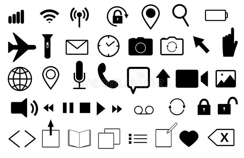 Ställ in av plana vektorsymboler för mobiltelefon och rengöringsduk Post ögla, klocka, telefon, wi-fi, foto, video, mikrofon, jor stock illustrationer