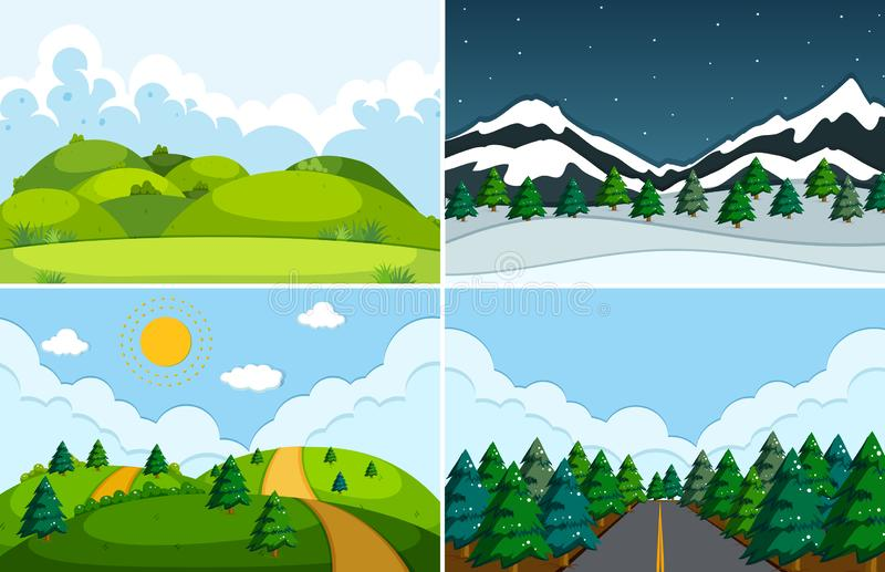 Ställ in av plant naturlandskap vektor illustrationer