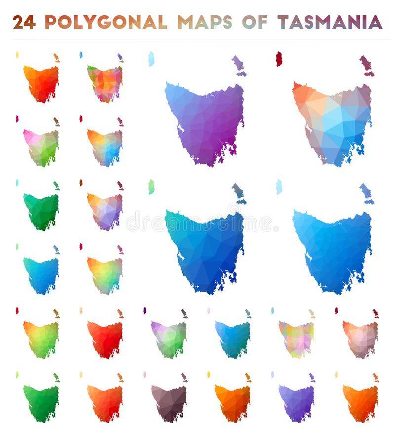 Ställ in av polygonal översikter för vektor av Tasmanien stock illustrationer
