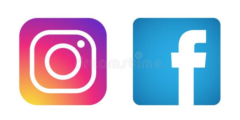 Ställ in av populär social för den Instagram Facebook för massmedialogosymboler vektor beståndsdelen på vit bakgrund vektor illustrationer
