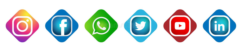 Ställ in av populär social för Instagram Facebook Twitter Youtube WhatsApp för massmedialogosymboler vektor för beståndsdel linke royaltyfri illustrationer