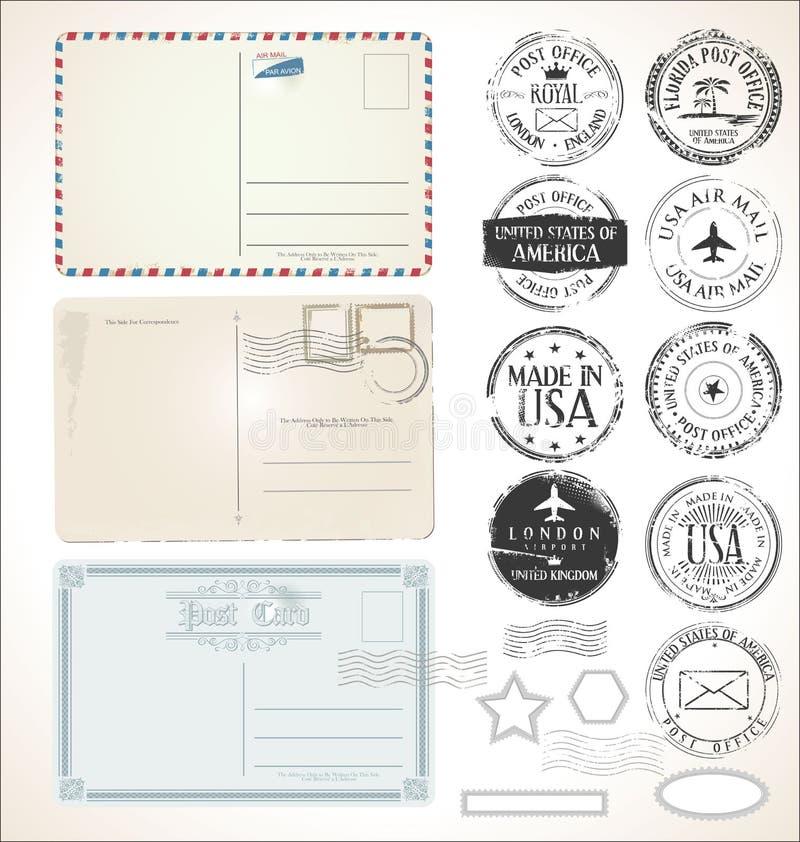 Ställ in av post- stämplar och vykort på den vita bakgrundspoststolpen - kontorsflygpost royaltyfri illustrationer