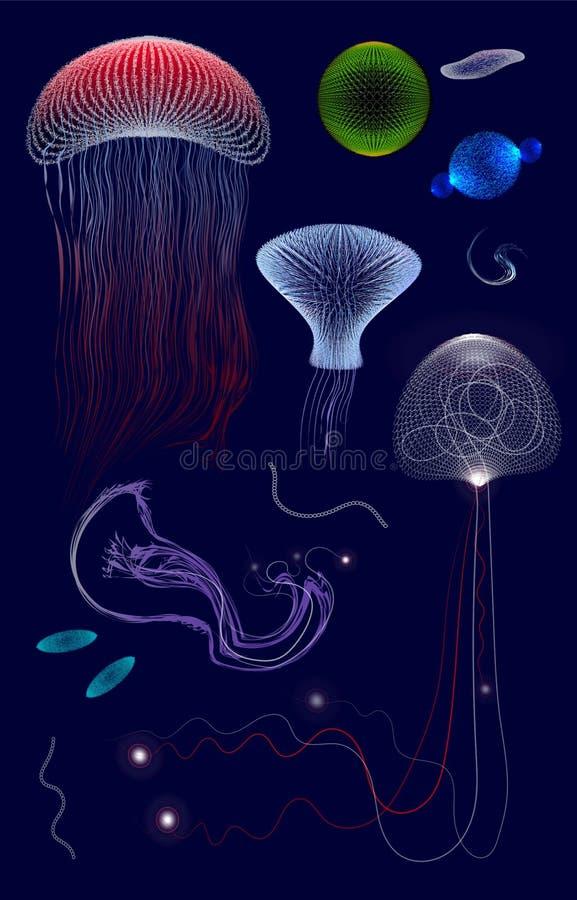 Ställ in av primitiva organismer i mörkt djupt vatten, gelé, stock illustrationer