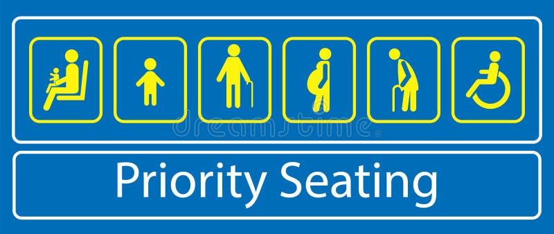 Ställ in av prioritetsplaceringklistermärke, eller etiketten, för samlas snabb transport eller annat offentligt trans. royaltyfri illustrationer