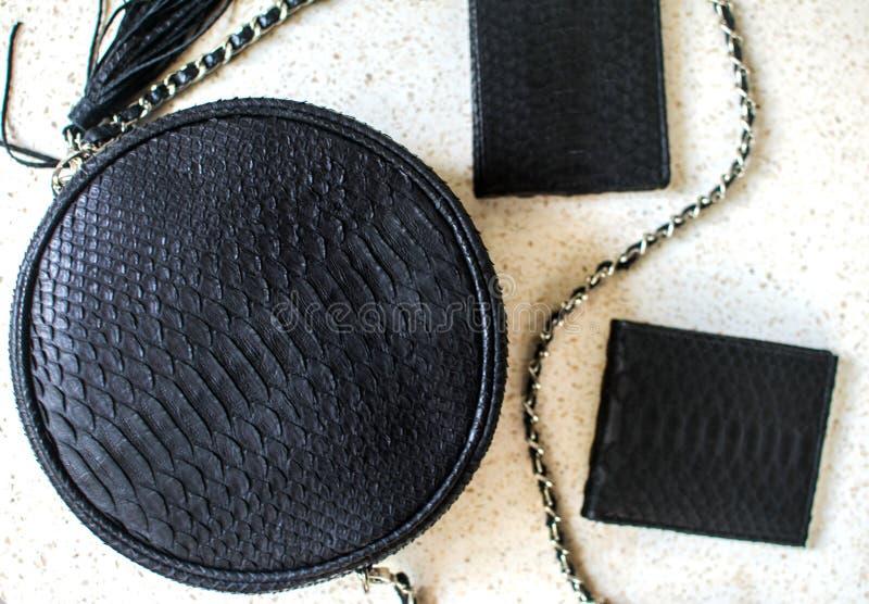 Ställ in av produkter som gjorde av pytonormläder Svart lyxig påse och purset, plånbok Handväska för mannen, plånbok för kvinna M fotografering för bildbyråer