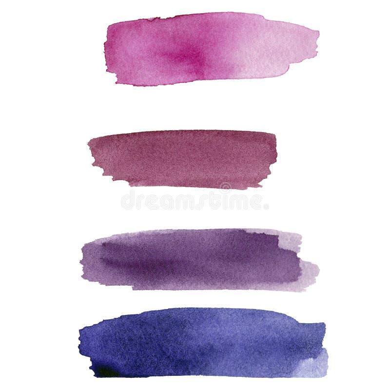 Ställ in av purpurfärgad vattenfärgfläck på vit bakgrund F?rgen som plaskar i papperet Det är en utdragen bild för hand stock illustrationer