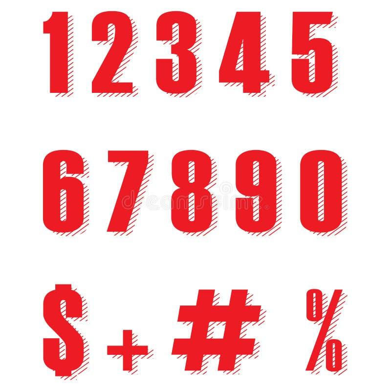Ställ in av röd form för tio nummer noll till nio, plan design för nummer För nummer- och procenttecken för röd färg vektor eps10 royaltyfri illustrationer